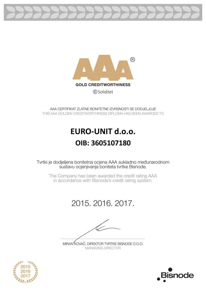 AAA zlatni certifikat bonitetne izvrsnosti